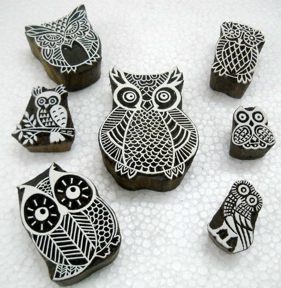 Exotic Owls Family/ Tattoo/ Handcarved Indian Textile Printing Blocks