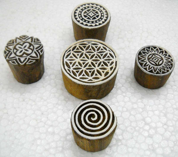 Pack of Round Shaped Wooden Block Stamps/ Tattoo/ Handcarved Indian Textile Printing Blocks