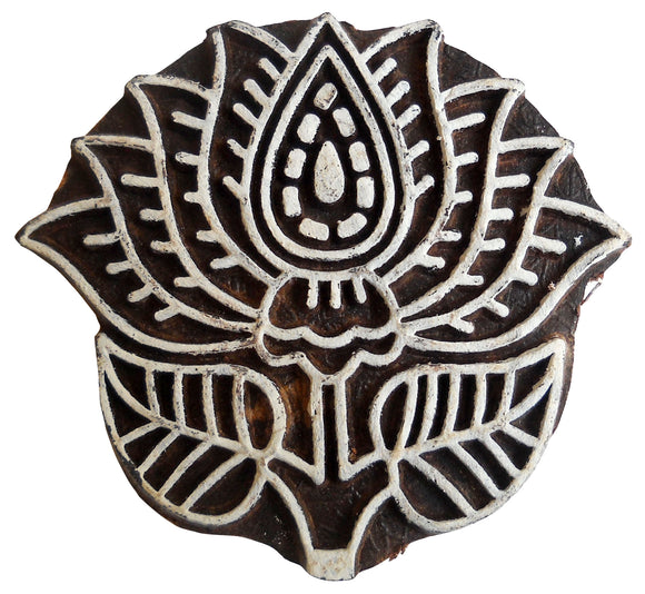 Lotus Flower Rare Carving Wood Craft Block/Stamp Textile Fabric Printing India