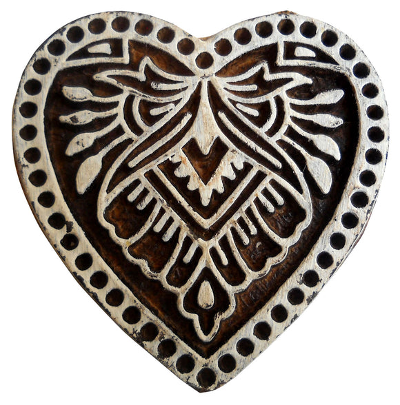 Heart Design Wooden Printing Block/Stamp Textile Fabric Printing Apparel India