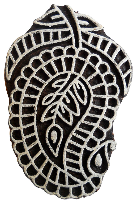 Paisley Design Wooden Printing Block/Stamp Textile Fabric Printing Tattoo India