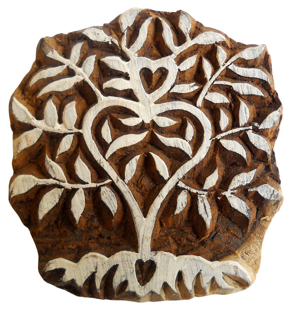 Tree of Heart Design Wooden Printing Block/Stamp Fabric Printing Apparel India
