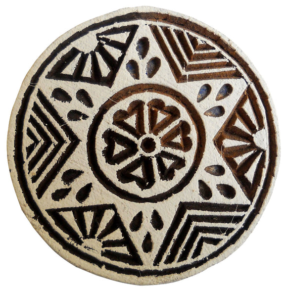 Star Design Round Wooden Printing Block/Stamp Textile Fabric Printing Tattoo