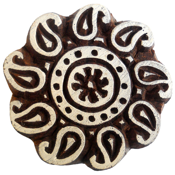 Paisley Designs Round Wooden Printing Block/Stamp Textile Fabric Printing Tattoo