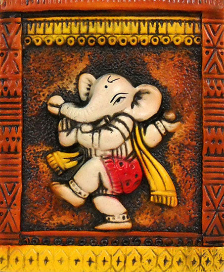 Crafts of India : Dancing Ganesha Terracotta Sculpture Plate - Wall Hanging