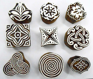 Wholesale Lot of 9 Wooden Block Stamps for Textile Printing/Scrapbooking/Henna Tattoo