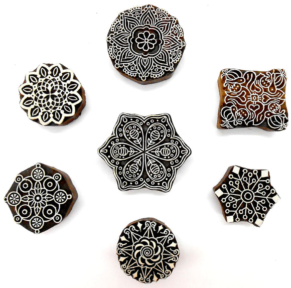 Crafts of India Rangoli Design Wooden Blocks for Stamping, Block Printing on Textiles, Pottery Crafts,Henna, Scrapbooking, Wall Painting: Set of 7pcs