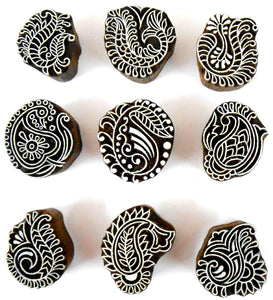 Crafts of India Stylish Paisley Wooden Blocks for Stamping, Block Printing on Textiles, Pottery Crafts,Henna, Scrapbooking, Wall Painting (Set of 9)