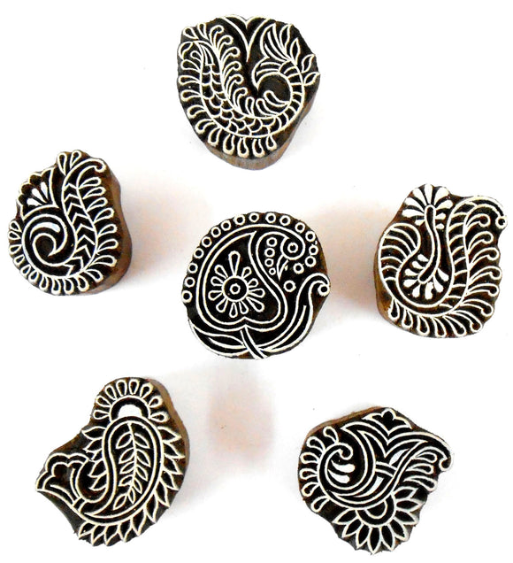 Crafts of India Exclusive Paisley Wooden Block Stamps for Printing on Textiles, Pottery Crafts,Henna, Tattoo, Scrapbooking (Set of 6)