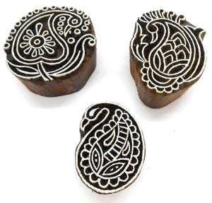 Crafts of India (Set of 6) Designer Paisley Wooden Blocks for Printing on Textiles, Pottery Crafts,Mehndi, Tattoo, Scrapbooking
