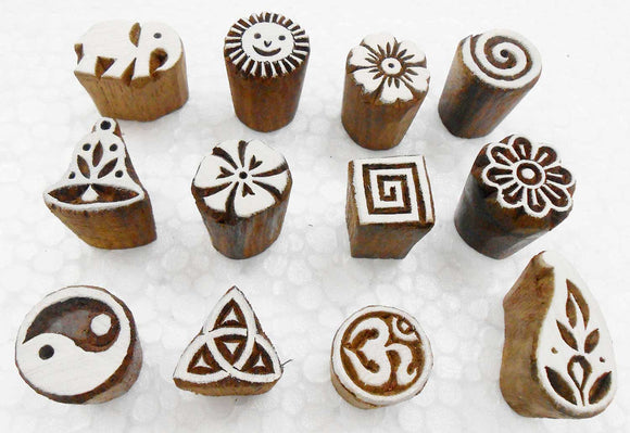 Wholesale Lot of 12 Exotic Small Wooden Block Stamps for Textile Printing/Henna Tattoo/Scrapbooking/Designing Saree Border