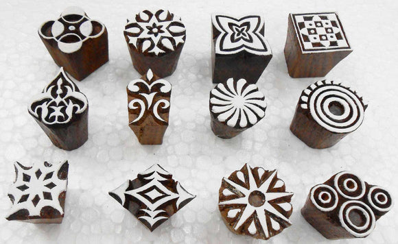 Wholesale Pack of 12 Wooden Block Printing Stamps for Textile Designing/Henna Tattoo/Crafts Printing Pattern for Saree/Home Decor