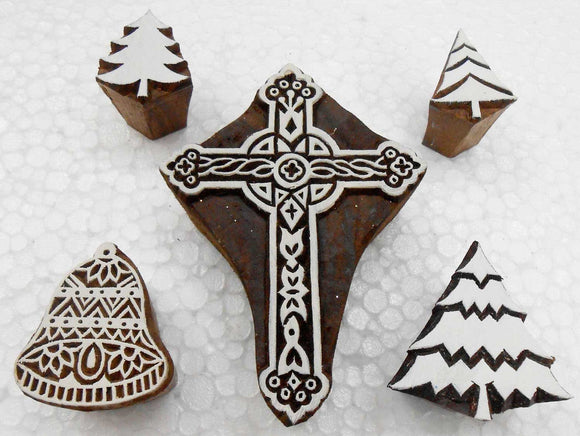Lot of 5 Wooden Block Printing Stamps for Christmas Decoration/Textile Designing/Scrapbooking/Henna Tattoo
