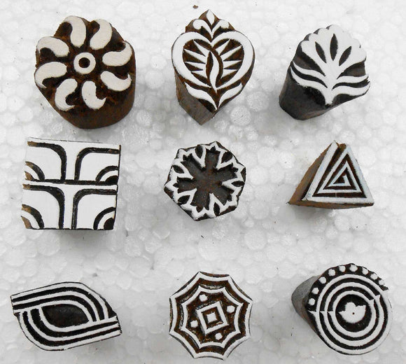Wholesale Lot of 9 Wooden Block Stamps for Textile Printing/Homedecor/Henna Tattoo/Crafts Printing Pattern for Saree/Scrapbooking