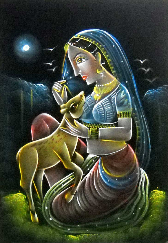 Indian Village Lady loving a Deer Traditional Indian Painting Wall Décor on Velvet Fabric: Size - 20