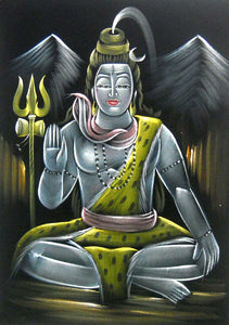 "Blessing Lord Shiva/ Shiv Ji Indian Hindu God Painting Wall Décor on Velvet Fabric: Size - 20""x28"" Inches"