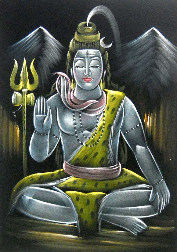 Blessing Lord Shiva/ Shiv Ji Indian Hindu God Painting Wall Décor on Velvet Fabric: Size - 20