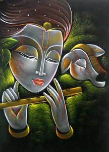 "Fluting Lord Krishna with Cow Indian Hindu God Oil Painting Wall Décor on Velvet Fabric: Size - 20""x28"" Inches"