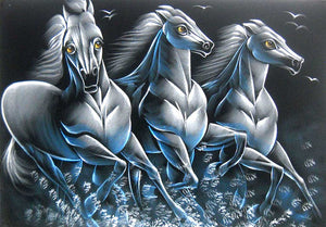 "White Racing Horses Indian Painting Wall Décor Wild Life Abstract on Velvet Fabric: Size - 20""x28"" Inches"
