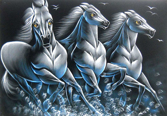 White Racing Horses Indian Painting Wall Décor Wild Life Abstract on Velvet Fabric: Size - 20