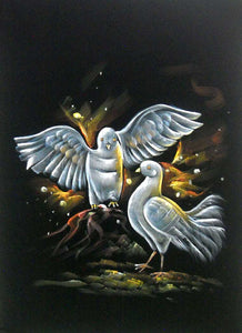 "Indian Twin Lover Pigeons Wall Hanging Painting Wall Décor on Velvet Fabric: Size - 20""x28"" Inches"