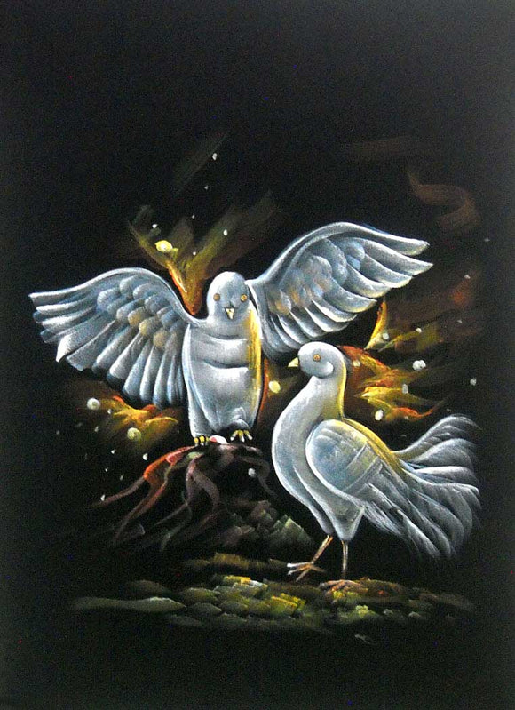 Indian Twin Lover Pigeons Wall Hanging Painting Wall Décor on Velvet Fabric: Size - 20