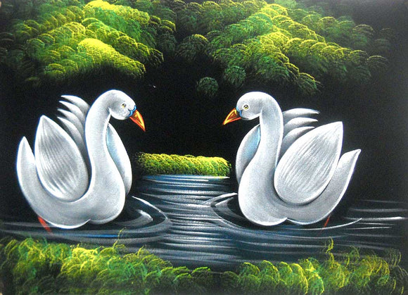 Twin Ducks Design Velvet Indian Painting Wall Décor on Velvet Fabric: Size - 20