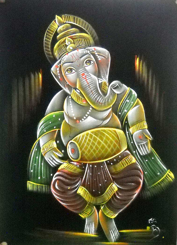 Indian Lord Ganesha Playing Mridangam/ Dholak Handmade Oil Painting on Velvet Fabric Wall Hanging: Size - 20