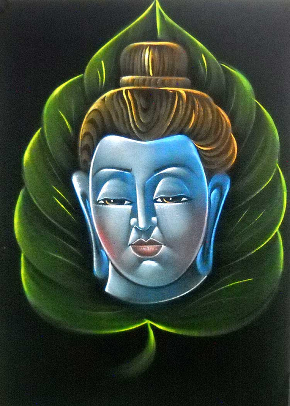 Lord Buddha on Leaf Design/ Indian Buddhist God Velvet painting Hanging : Size - 20