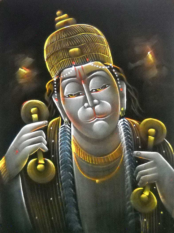 Brave Lord Hanuman singing Hymns of Lord Rama/ Indian Hindu God Velvet painting : Size - 20