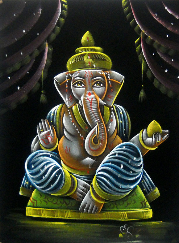 Blessing Lord Ganesha Hindu God Handmade Oil Painting on Velvet Fabric Painting : Size - 19
