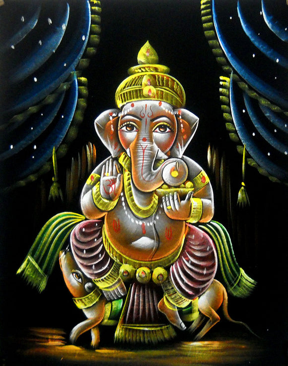 Divine Lord Ganesha Hindu God Handmade Oil Painting on Velvet Fabric Painting : Size - 19