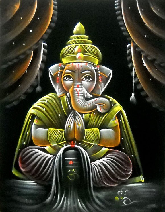 Lord Ganesha Worshipping Shiva Lingham Hindu God Velvet Fabric Painting Wall Hanging : Size - 19