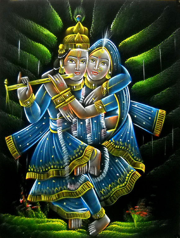 Two Bodies One Soul : Radha Krishna Hindu God Velvet Fabric Painting Wall Hanging : Size - 19