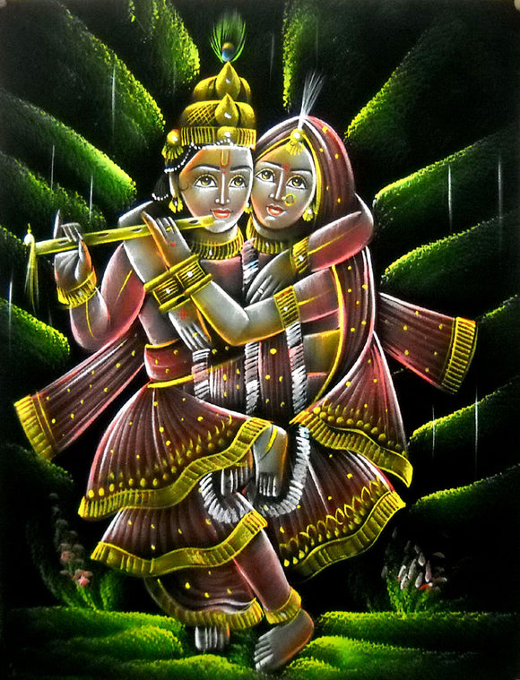 Divine Lovers Radha Krishna Hindu God Velvet Fabric Painting Wall Hanging : Size - 19