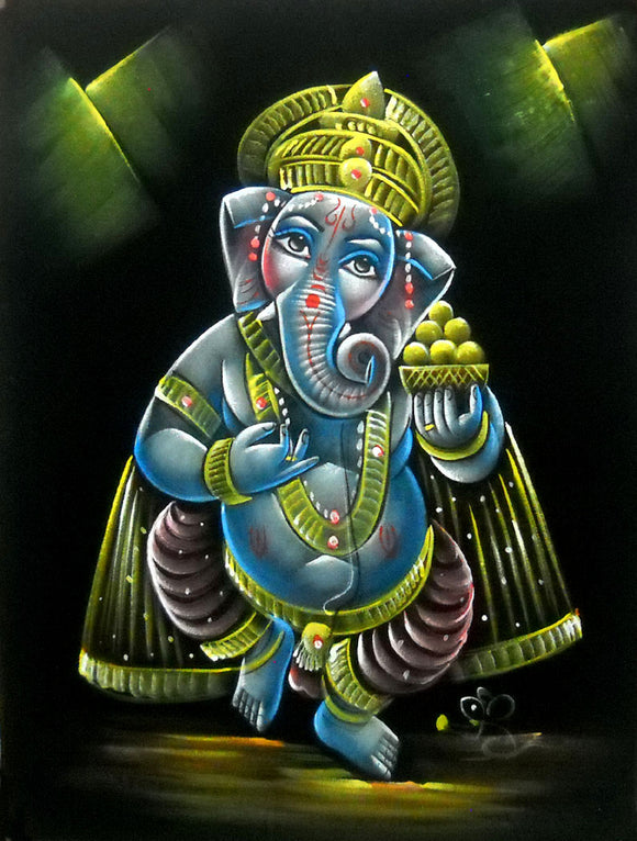 Divine Lord Ganesha Hindu God Velvet Fabric Painting Wall Hanging : Size - 19