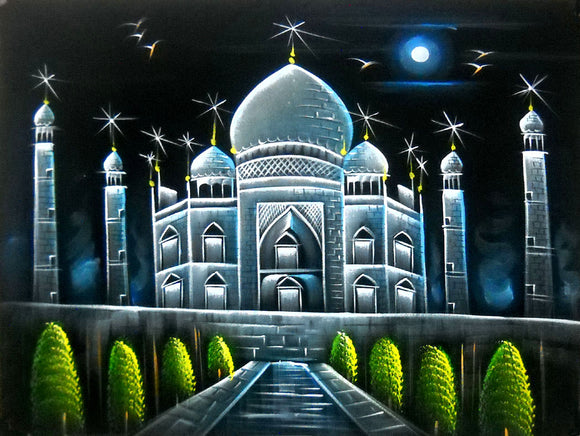 Taj Mahal Indian Historical Monument Oil Painting on Velvet Fabric Wall Hanging : Size - 19