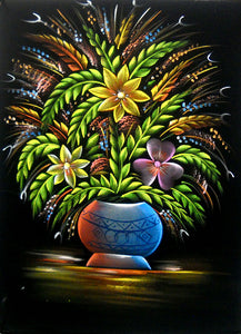 "Flowers Pot Hindu God Velvet Fabric Oil Painting Wall Hanging : Size - 19""x27"" Inches"