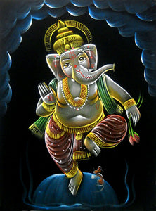 "Dancing Lord Ganesha Hindu God Velvet Fabric Painting Wall Hanging : Size - 19""x27"" Inches"