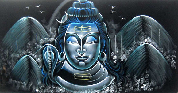 Meditating Lord Shiva/Indian Painting Wall Décor Wild Life Abstract on Velvet Fabric: Size - 20