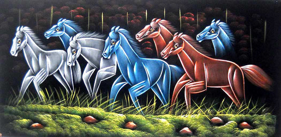Colored Racing Horses/ Indian Painting Wall Décor Wild Life Abstract on Velvet Fabric: Size - 20