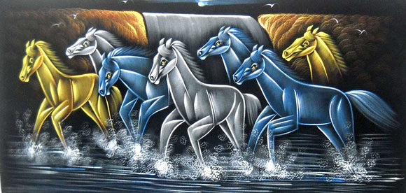 Horses Running in Water/ Indian Painting Wall Décor Wild Life Abstract on Velvet Fabric: Size - 20