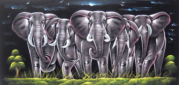 Elephant Family in Forest/ Indian Painting Wall Décor Wild Life Abstract on Velvet Fabric: Size - 20