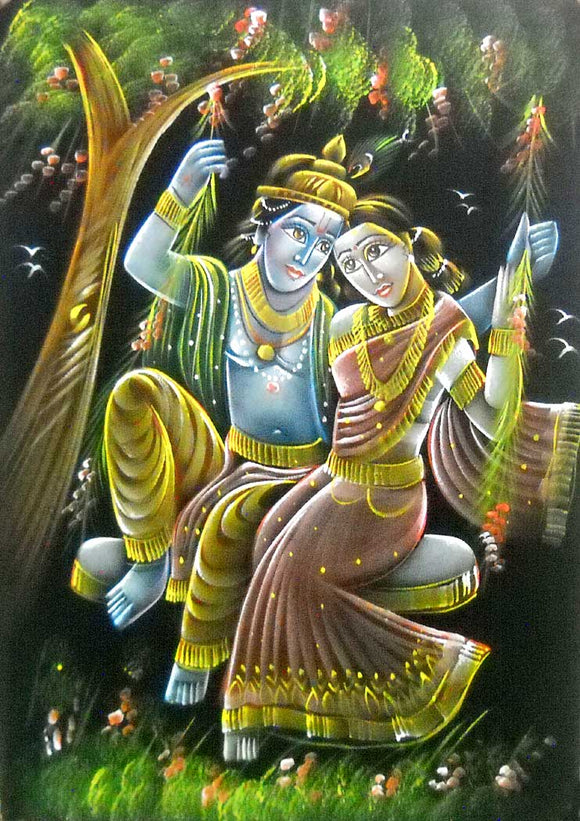 Indian Radha Krishna on Swing Traditional Handmade Oil Painting on Velvet Fabric Wall Hanging : Size - 20