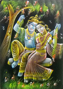 "Indian Radha Krishna on Swing Traditional Handmade Oil Painting on Velvet Fabric Wall Hanging : Size - 20""x28"" Inches"