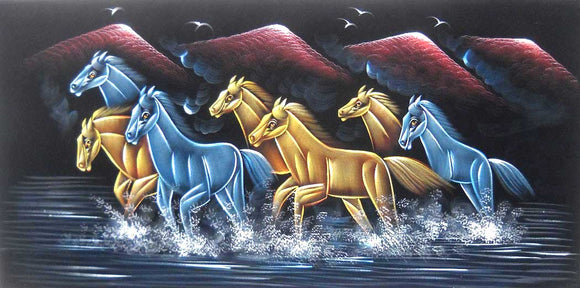 Beautiful Running Colored Horses/ Indian Painting Wall Décor Wild Life Abstract on Velvet Fabric: Size - 20
