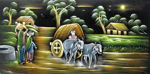 "Village Scene/Indian Painting Wall Décor Wild Life Abstract on Velvet Fabric: Size - 24""x48"" Inches"