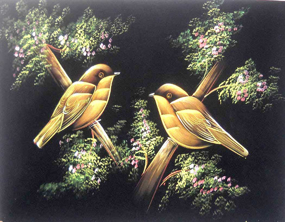 Pair of Colored Sparrows/ Indian Painting Wall Décor Wild Life Abstract on Velvet Fabric: Size - 20