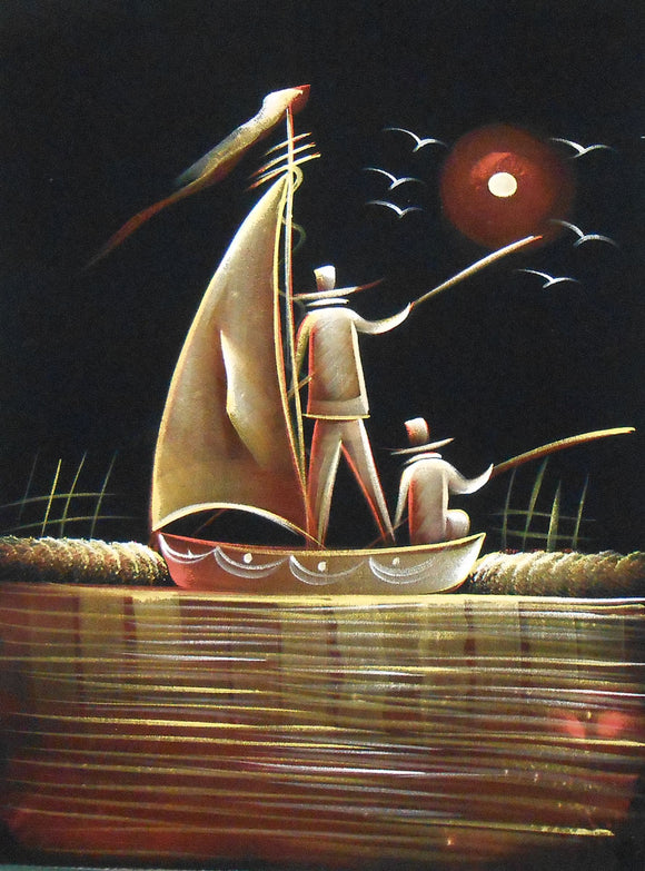 Sailors Sailing The Boat/Indian Painting Wall Décor on Velvet Fabric: Size - 19
