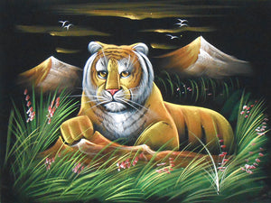 "Tiger Awaiting for its Prey/Traditional Indian Painting Wall Décor on Velvet Fabric: Size - 19""x27"" Inches"